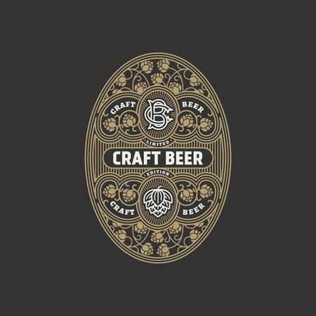Flourishes oval beer label design template with hops in linear style. Vector illustration. 向量圖像