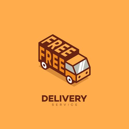 Isometric free delivery service logo design template. Vector illustration.