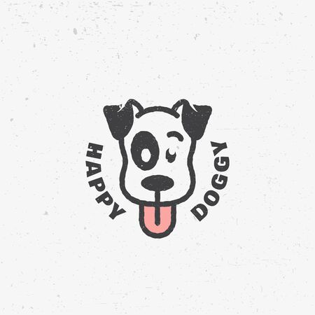 Happy doggy logo design template with scratches. Vector illustration.