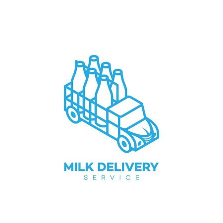 Milk delivery service logo design template in linear style. Vector illustration. Çizim