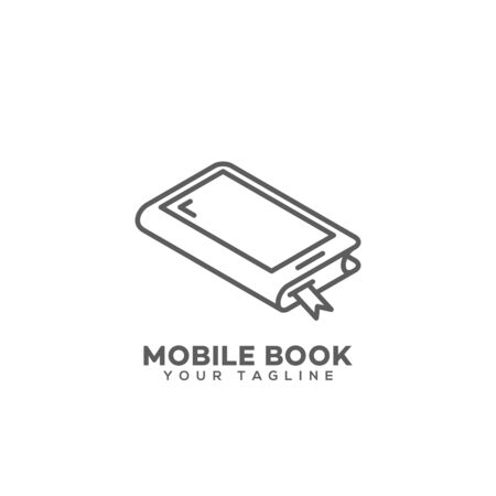 Mobile book logo design template in linear style. Vector illustration. Çizim