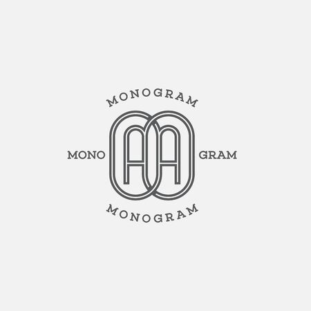 Monogram two letters A in linear style. Vector illustration. Ilustracja