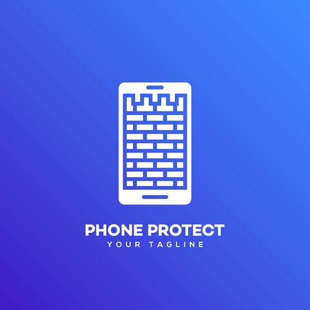 Phone protect logo design template on a blue background. Vector illustration.