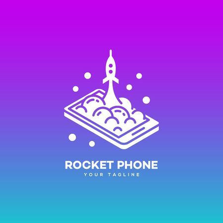 Isometric rocket phone logo design template on a smooth gradient background. Vector illustration.