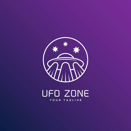 Ufo zone logo design template in outline style. Vector illustration.