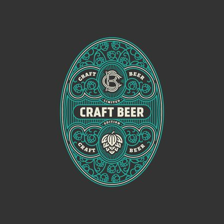 Flourishes oval beer label design template with hops. Vector illustration.