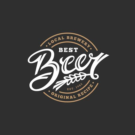 Label design template with Beer lettering. Vector illustration.