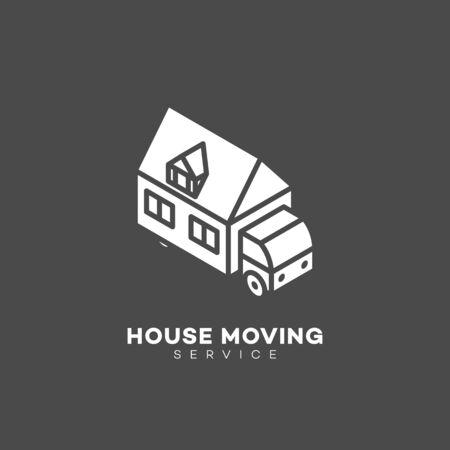 House moving service design template on a dark background. Vector illustration. 向量圖像