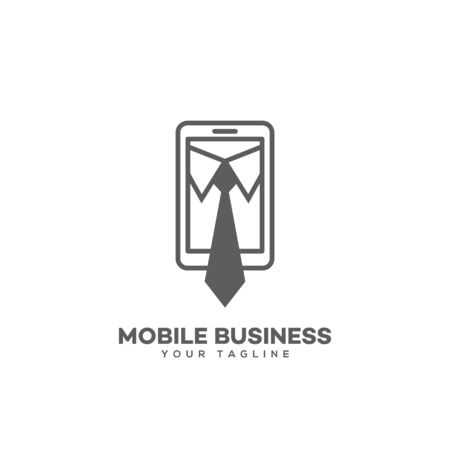Mobile business design template in linear style. Vector illustration.