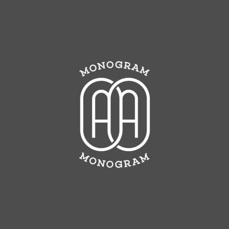 Monogram two letters A. Vector illustration.