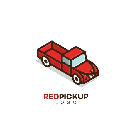 Isometric pickup truck  design template. Vector illustration. Stock Illustratie