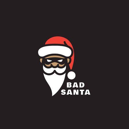 Bad Santa template design on a black background. Vector illustration.