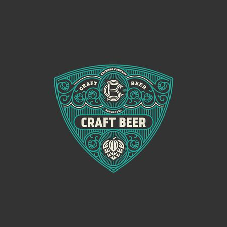 Flourishes beer label design template with hops in linear style. Vector illustration. 向量圖像