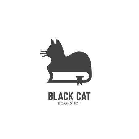 Black cat bookshop design template with a cat on a book. Vector illustration. 向量圖像