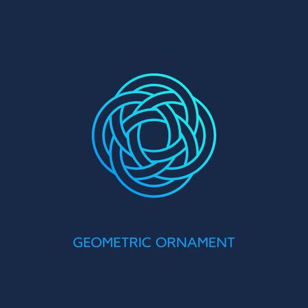 Geometric emblem design template with smooth gradient fill in linear style on a dark background. Vector illustration. 向量圖像