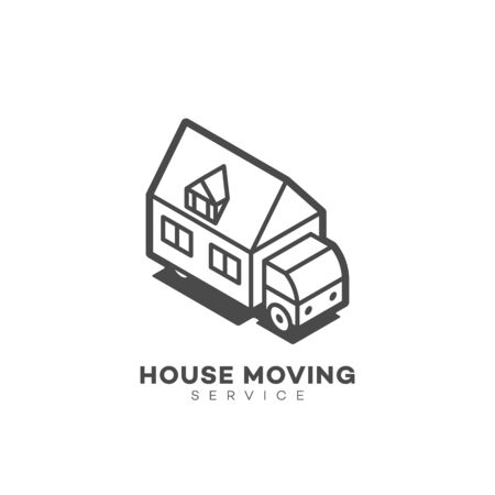 House moving service design template in linear style. Vector illustration. 向量圖像