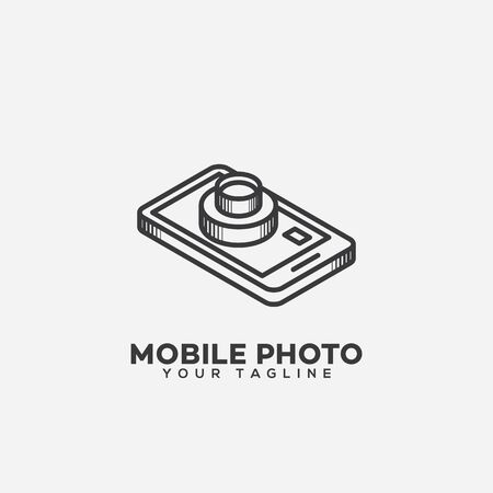 Mobile photo design template in linear style. Vector illustration.