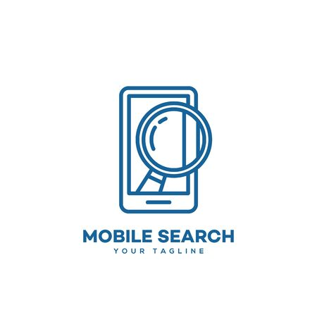 Mobile search design template in linear style. Vector illustration.