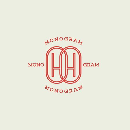Monogram two letters H in linear style. Vector illustration.
