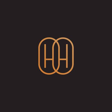 Golden monogram two letters H. Vector illustration.