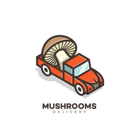 Mushrooms delivery design template. Vector illustration.