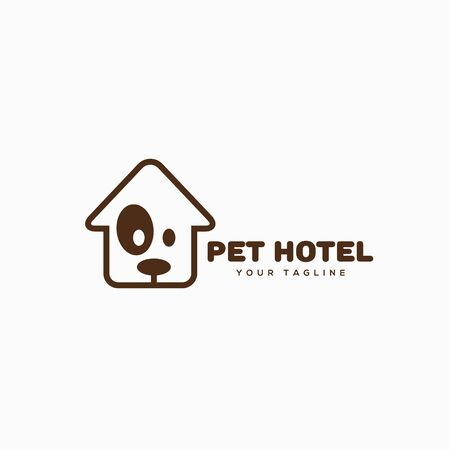 Pet hotel design template in linear style. Vector illustration.