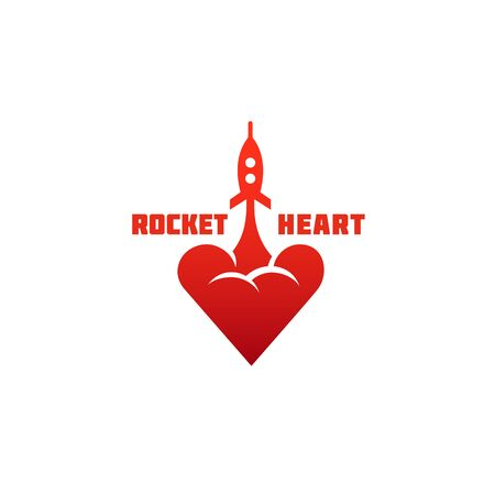 Rocket heart design template. Vector illustration.