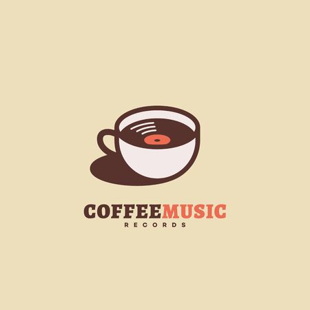 Coffee music records  design template with a cup and a vinyl record. Vector illustration. Çizim