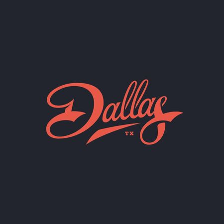 Dallas word lettering design. Vector illustration.