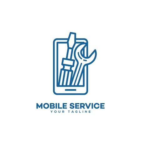 Mobile service  design template in linear style. Vector illustration.