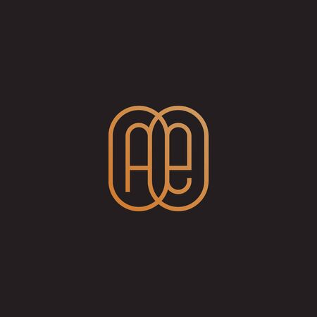 Golden monogram two letters A and E. Vector illustration.