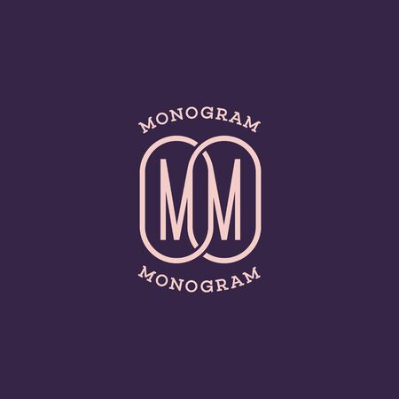 Monogram two letters M. Vector illustration.