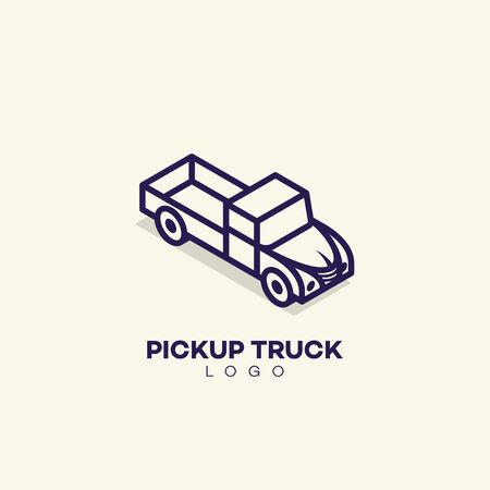 Pickup truck  design template in linear style. Vector illustration.