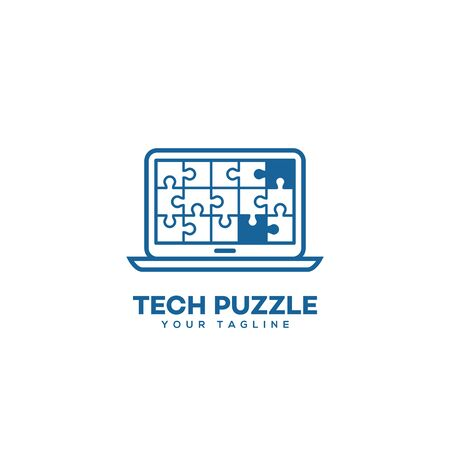 Tech puzzle  design template in linear style. Vector illustration. Фото со стока - 134792014