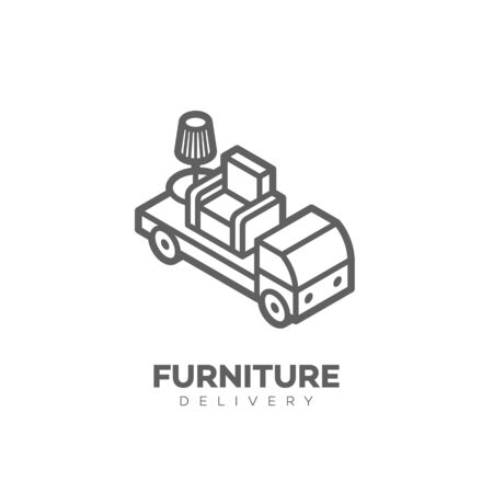 Furniture delivery  design template in linear style. Vector illustration.