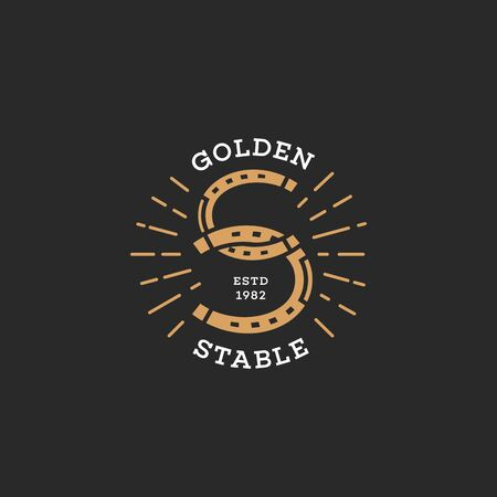 Golden stable. Two horseshoes  design. Stylized letter S. Vector illustration.
