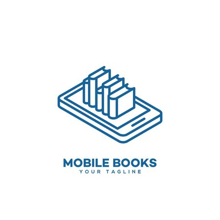 Mobile books  design template in linear style. Vector illustration. Иллюстрация
