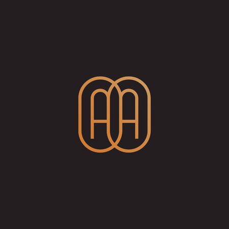 Golden monogram two letters A. Vector illustration.