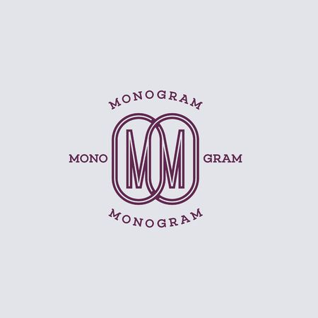 Monogram two letters M in linear style. Vector illustration.