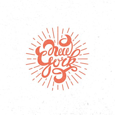 New York lettering with stamp effect. Vector illustration.