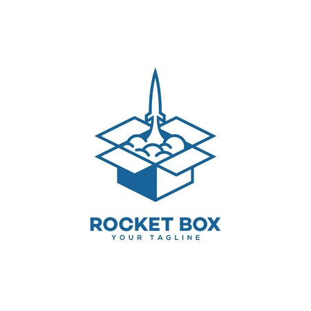 Rocket box  design template in outline style. Vector illustration.