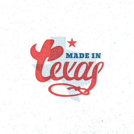 Made in Texas lettering with a map. Vector illustration.