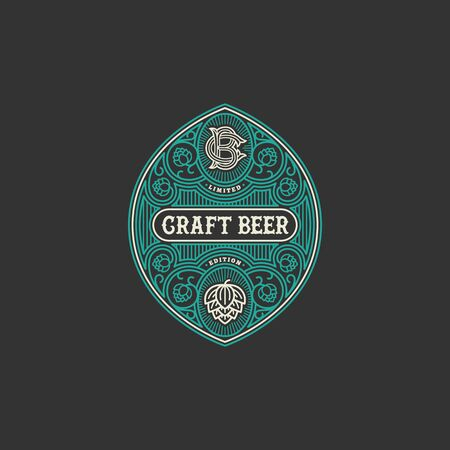 Flourishes beer label design template with hops in linear style. Vector illustration. Иллюстрация