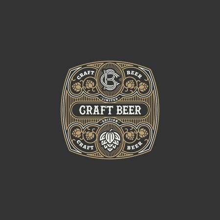 Flourishes beer label design template with hops. Vector illustration. Иллюстрация