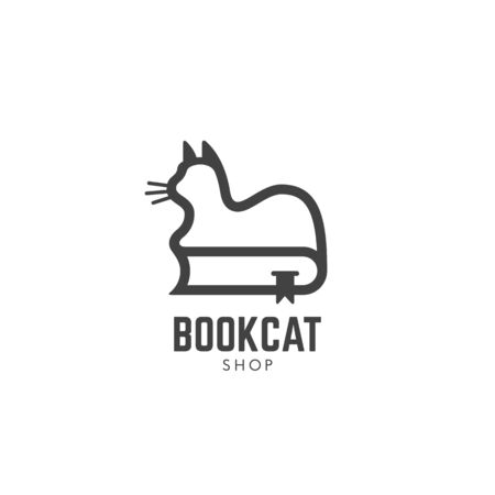 Book cat shop logo design template with a cat on a book in linear style. Vector illustration.