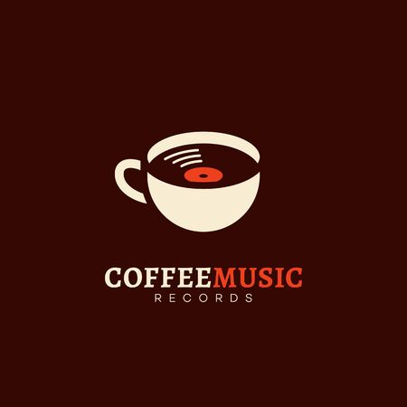 Coffee music records logo design template. Vector illustration.