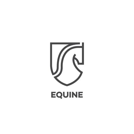 Equine logo design template with a horse head and a shield in outline style. Vector illustration. Иллюстрация