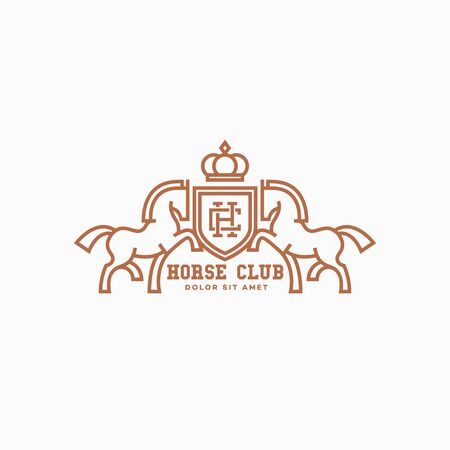 Horse club logo design template with two horses and a shield in outline style. Vector illustration. Иллюстрация
