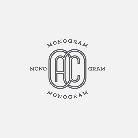 Monogram two letters A and C in linear style. Vector illustration.