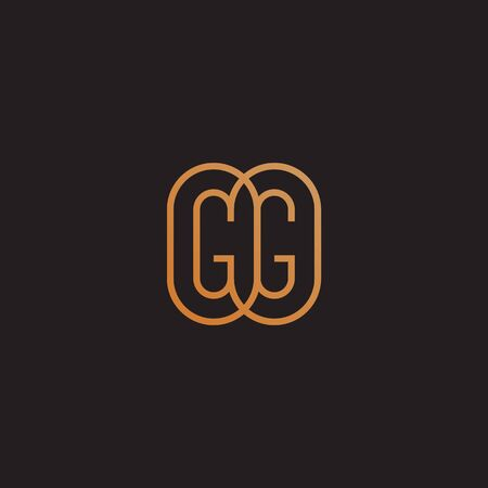 Golden monogram two letters G. Vector illustration.